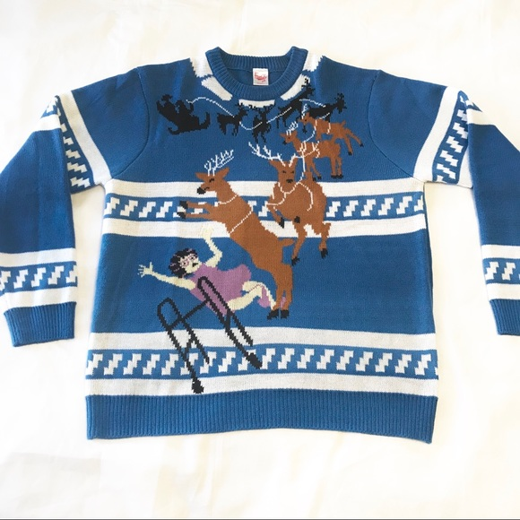 Blue And White Christmas Sweater.Ugly Christmas Sweater